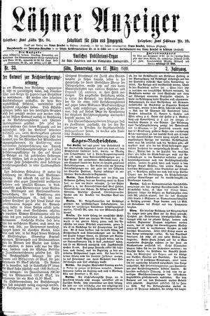 Lähner Anzeiger vom 17.03.1910