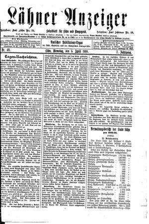 Lähner Anzeiger vom 05.04.1910