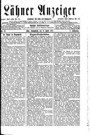 Lähner Anzeiger vom 09.04.1910