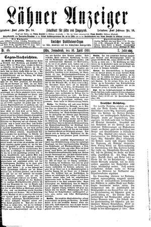 Lähner Anzeiger vom 16.04.1910