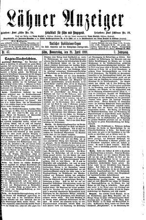 Lähner Anzeiger vom 21.04.1910