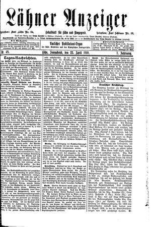 Lähner Anzeiger vom 23.04.1910