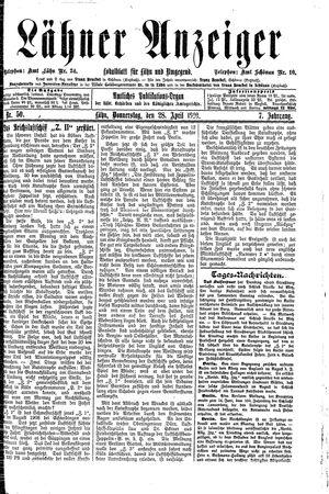 Lähner Anzeiger vom 28.04.1910