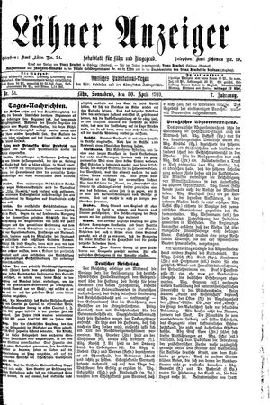 Lähner Anzeiger vom 30.04.1910