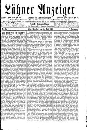 Lähner Anzeiger vom 10.05.1910