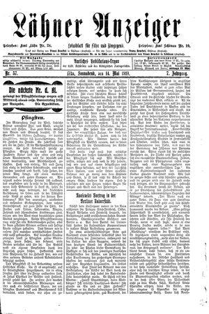 Lähner Anzeiger vom 14.05.1910