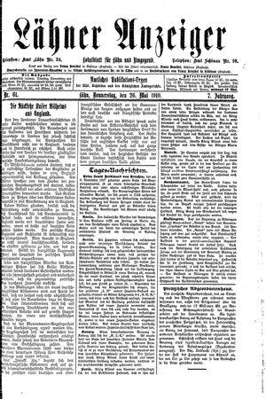 Lähner Anzeiger vom 26.05.1910