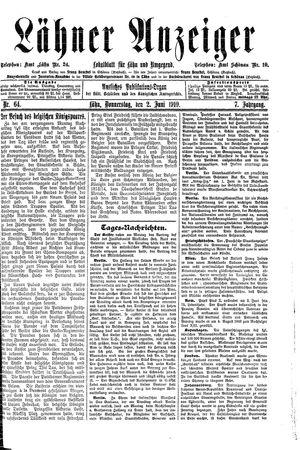 Lähner Anzeiger vom 02.06.1910