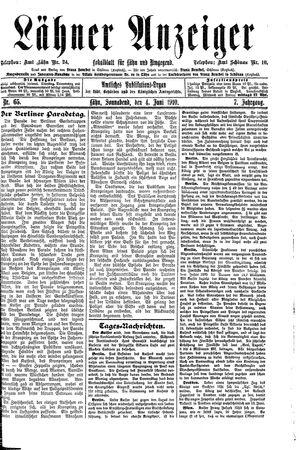 Lähner Anzeiger vom 04.06.1910