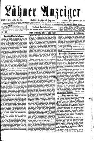 Lähner Anzeiger vom 07.06.1910