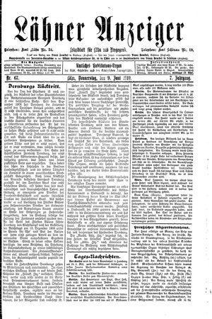 Lähner Anzeiger vom 09.06.1910