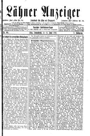 Lähner Anzeiger vom 11.06.1910