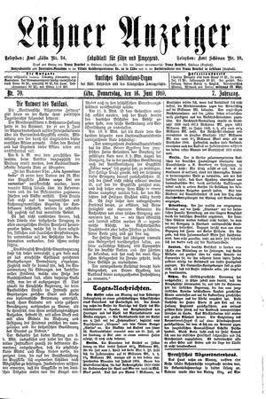 Lähner Anzeiger vom 16.06.1910