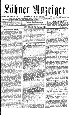 Lähner Anzeiger vom 21.06.1910