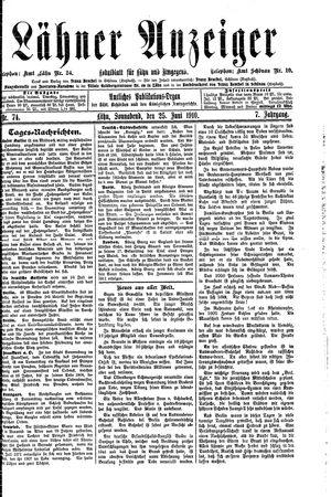Lähner Anzeiger vom 25.06.1910