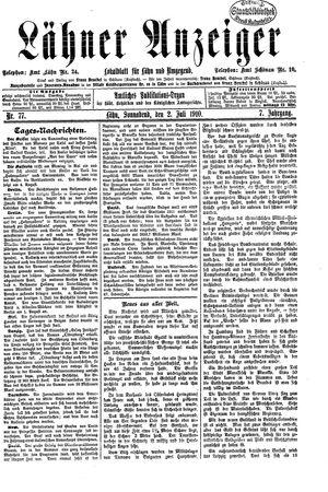 Lähner Anzeiger vom 02.07.1910