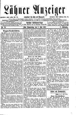 Lähner Anzeiger vom 07.07.1910