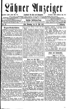 Lähner Anzeiger vom 12.07.1910