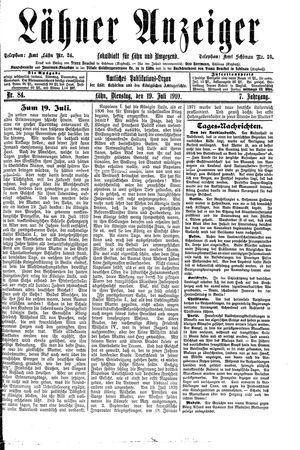 Lähner Anzeiger vom 19.07.1910