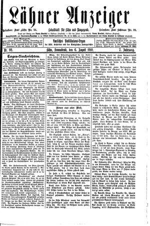 Lähner Anzeiger vom 06.08.1910