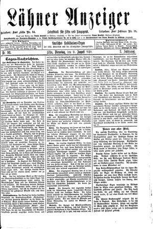 Lähner Anzeiger vom 09.08.1910