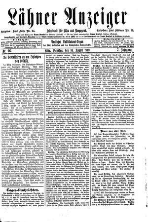Lähner Anzeiger vom 16.08.1910