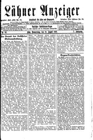 Lähner Anzeiger vom 18.08.1910