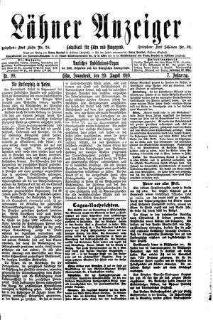 Lähner Anzeiger vom 20.08.1910