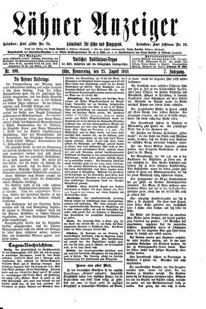 Lähner Anzeiger vom 25.08.1910