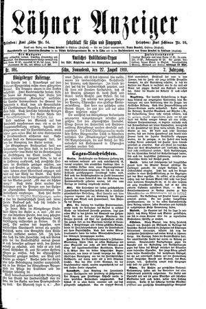 Lähner Anzeiger vom 27.08.1910
