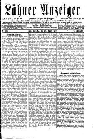 Lähner Anzeiger vom 30.08.1910