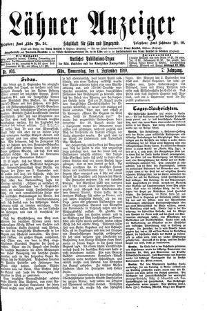 Lähner Anzeiger vom 01.09.1910
