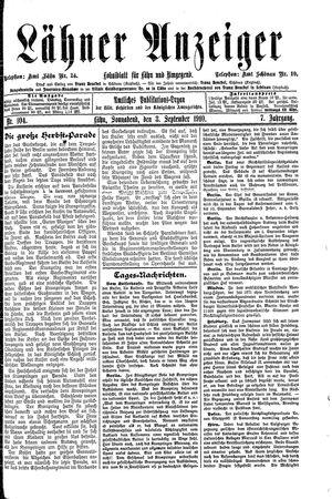 Lähner Anzeiger vom 03.09.1910