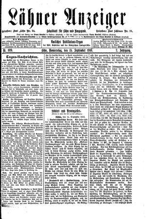 Lähner Anzeiger vom 15.09.1910