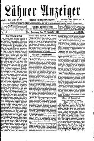 Lähner Anzeiger vom 22.09.1910