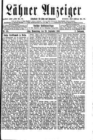 Lähner Anzeiger vom 29.09.1910