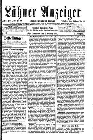 Lähner Anzeiger vom 01.10.1910