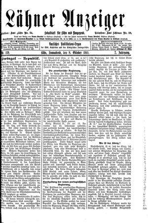 Lähner Anzeiger vom 08.10.1910