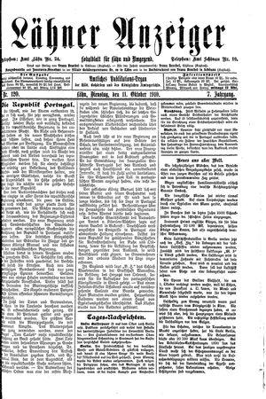 Lähner Anzeiger vom 11.10.1910