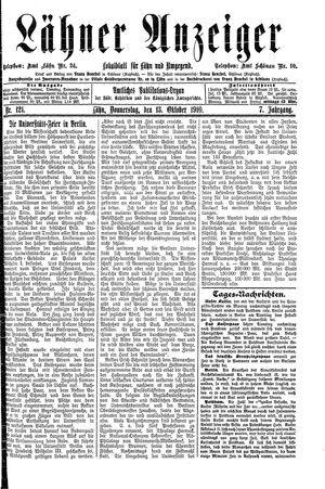 Lähner Anzeiger vom 13.10.1910