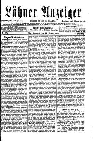 Lähner Anzeiger vom 22.10.1910