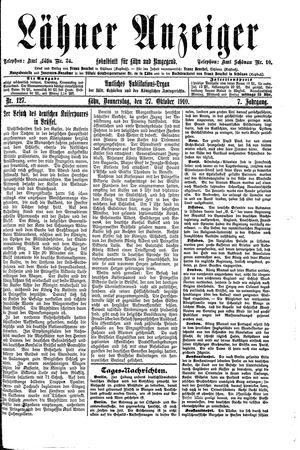 Lähner Anzeiger vom 27.10.1910