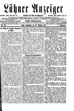 Lähner Anzeiger vom 29.10.1910