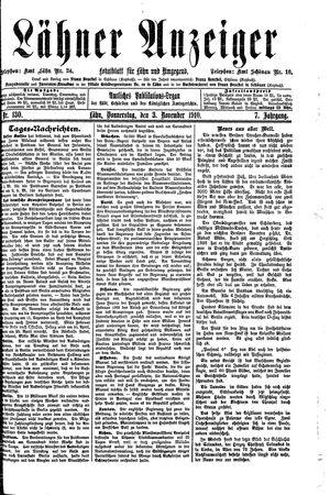 Lähner Anzeiger vom 03.11.1910