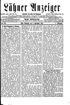 Lähner Anzeiger vom 08.11.1910
