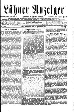 Lähner Anzeiger vom 19.11.1910