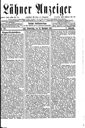 Lähner Anzeiger vom 24.11.1910