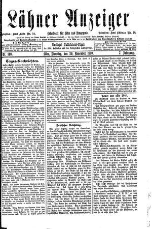 Lähner Anzeiger vom 29.11.1910
