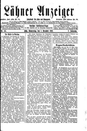 Lähner Anzeiger on Dec 1, 1910
