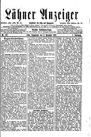 Lähner Anzeiger vom 03.12.1910